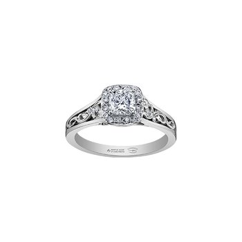 Summer Enchanted Filigree Engagement Ring with Cushion Centre in White Gold