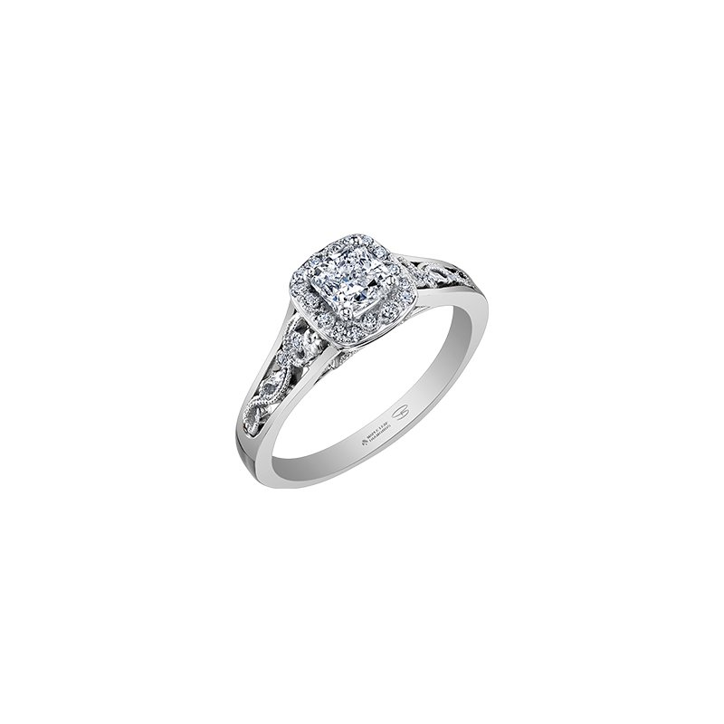 Maple Leaf Diamonds Summer Enchanted Filigree Engagement Ring with Cushion Centre in White Gold