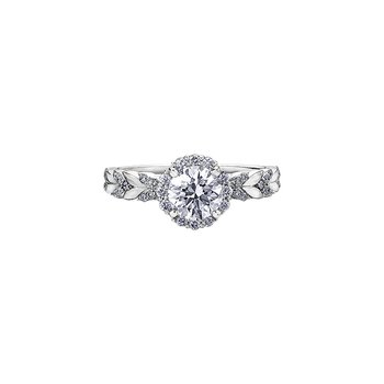 Eternal Flames Diamond Set Chevron Engagement Ring