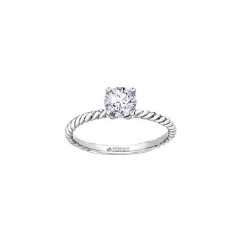 Eternal Flames Twist Solitaire Ring in White Gold