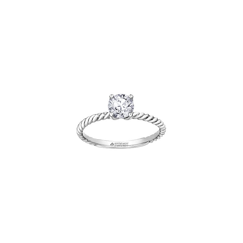 Maple Leaf Diamonds Eternal Flames Twist Solitaire Ring in White Gold