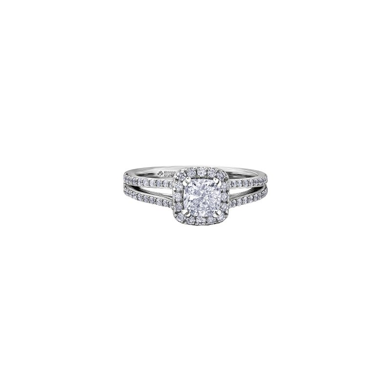 Maple Leaf Diamonds Love letters Halo Engagement Ring