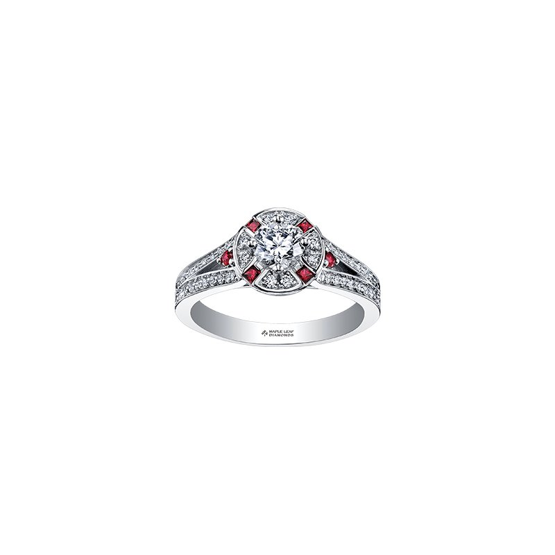 Maple Leaf Diamonds Adoration Split Shoulder Diamond and Ruby Engagement Ring