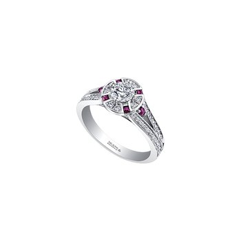 Adoration Split Shoulder Diamond and Ruby Engagement Ring