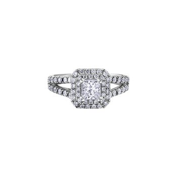 Love Letters Princess Halo Engagement Ring