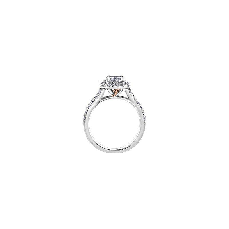 Maple Leaf Diamonds Love Letters Princess Halo Engagement Ring