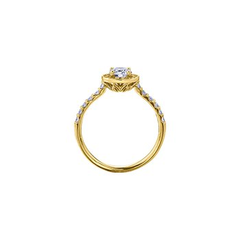 Spring Lily Halo Engagement Ring in Yellow Gold