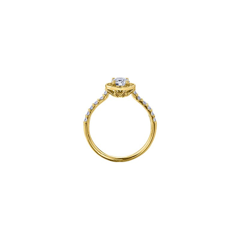 Maple Leaf Diamonds Spring Lily Halo Engagement Ring in Yellow Gold