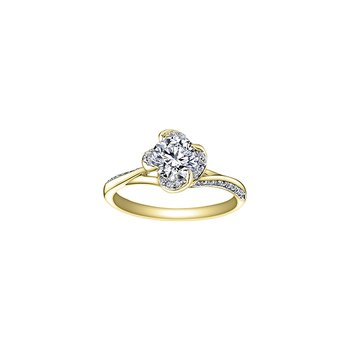 Wind's Embrace Split Shoulder Engagement Ring in Yellow Gold