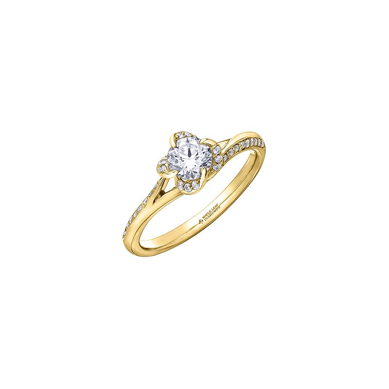 Maple Leaf Diamonds Wind's Embrace Split Shoulder Engagement Ring in Yellow Gold