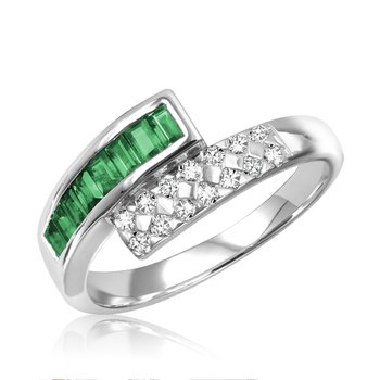 Gemstone and Diamond Bypass Ring