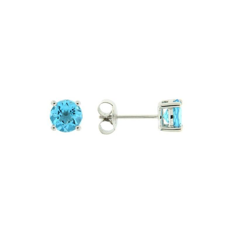 Davidson's Signature 4 Prong Blue Topaz Stud Earrings