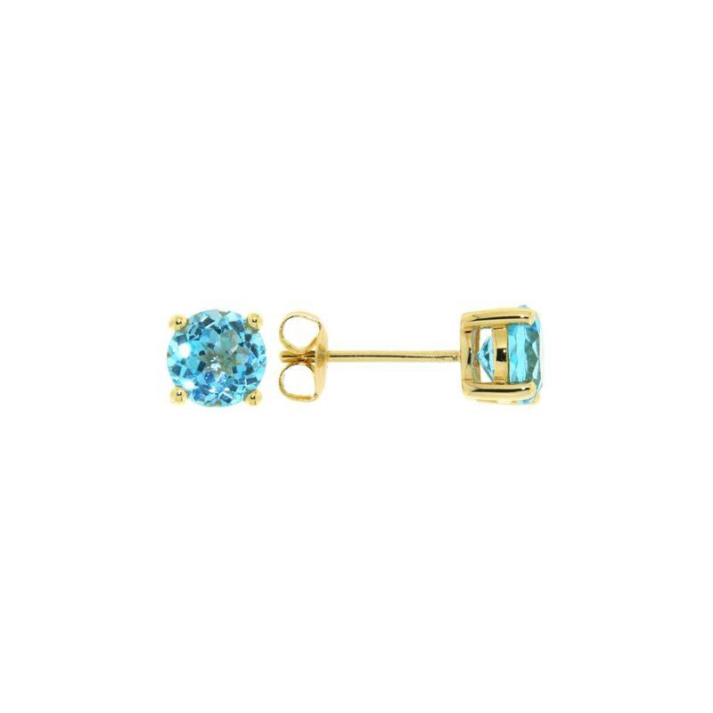 Davidson's Signature 4 Prong Blue Topaz Stud Earrings