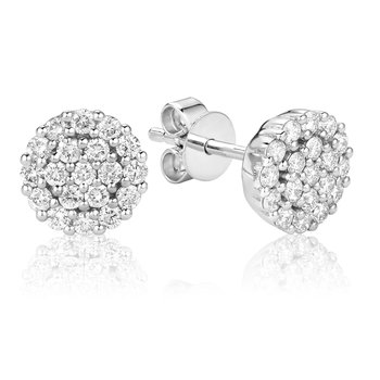 Large Diamond Cluster Stud Earrings
