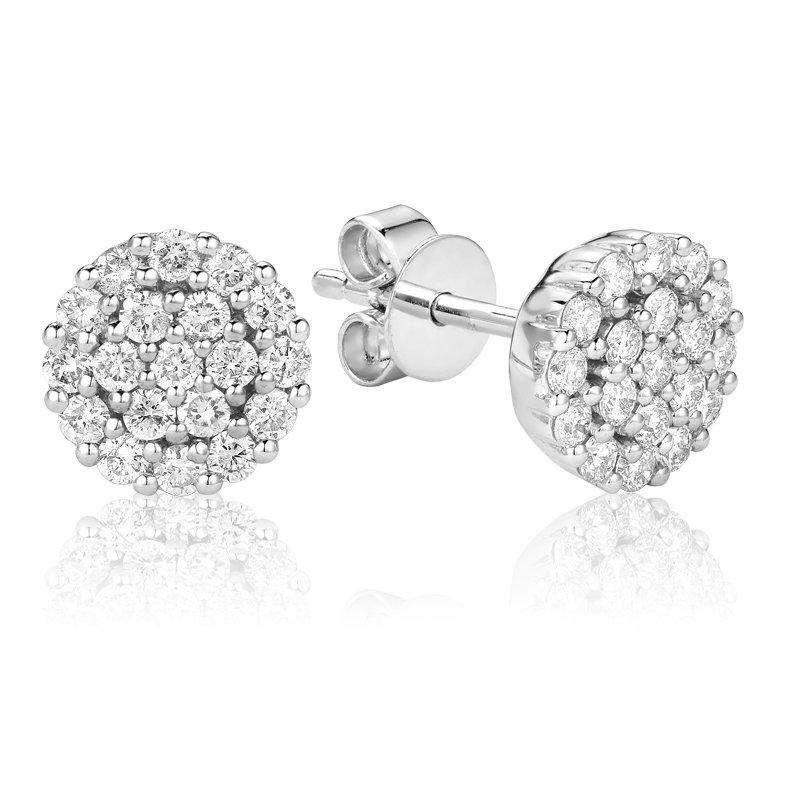 RnB Jewellery Large Diamond Cluster Stud Earrings