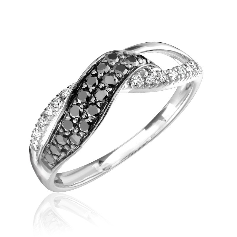 RnB Jewellery Black and White Diamond Twist Ring