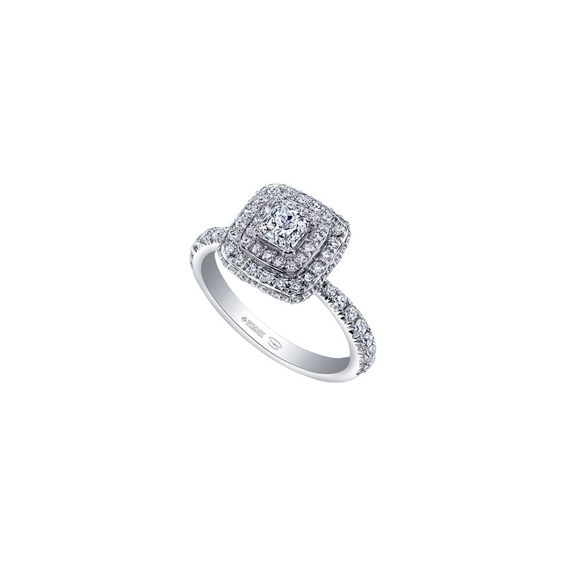Maple Leaf Diamonds Autumn Engagement Ring in White Gold