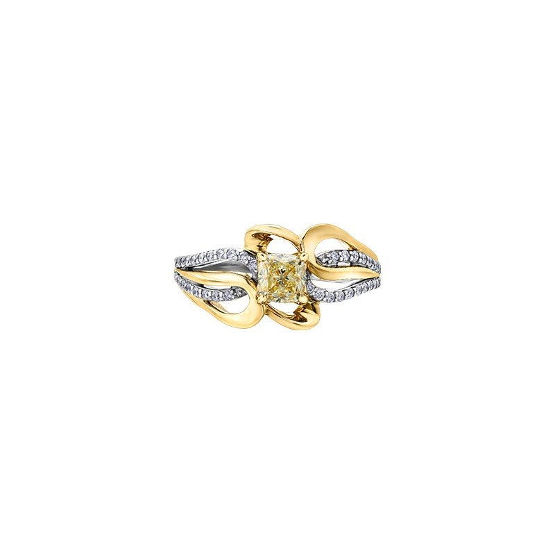 Maple Leaf Diamonds Eternal Flames Diamond Set Looped Band Engagement Ring in Yellow and White Gold with a Yellow Diamond