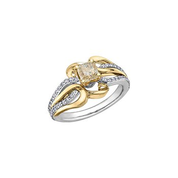 Eternal Flames Diamond Set Looped Band Engagement Ring in Yellow and White Gold with a Yellow Diamond