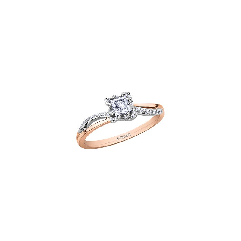 Maple Leaf Diamonds Wind's Embrace Diamond Wrap Princess Engagement Ring in Rose Gold