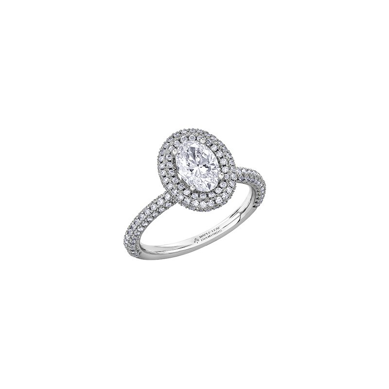 Maple Leaf Diamonds Oval Pave Halo Engagement Ring