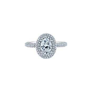 Oval Pave Halo Engagement Ring