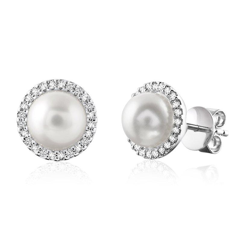 RnB Jewellery Diamond and Pearl Halo Stud Earrings