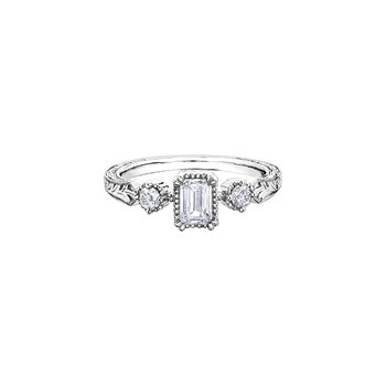 Emerald Cut Three Stone Engraved Engagement Ring