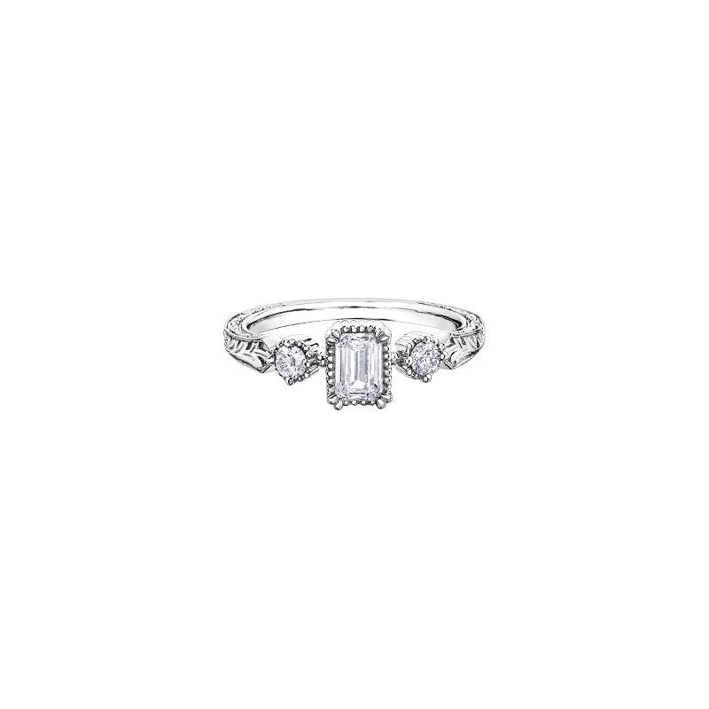 Maple Leaf Diamonds Emerald Cut Three Stone Engraved Engagement Ring