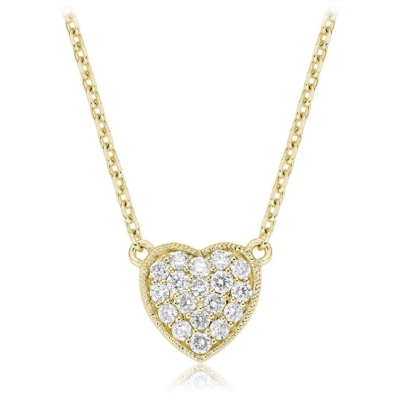 RnB Jewellery Pave Diamond Heart Necklace
