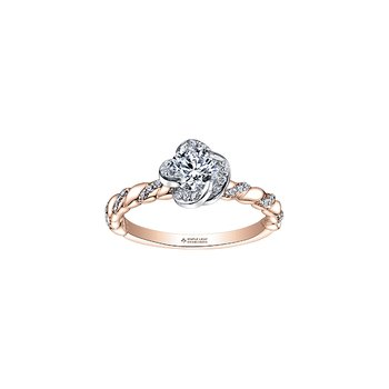 Wind's Embrace Diamond Twist Engagement Ring in Rose and White Gold