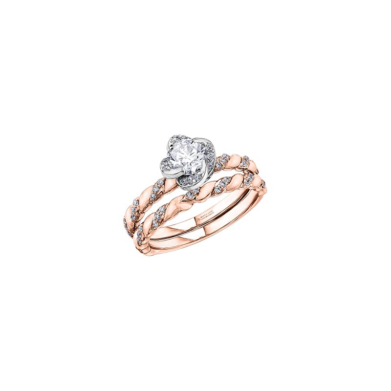 Maple Leaf Diamonds Wind's Embrace Diamond Twist Engagement Ring in Rose and White Gold