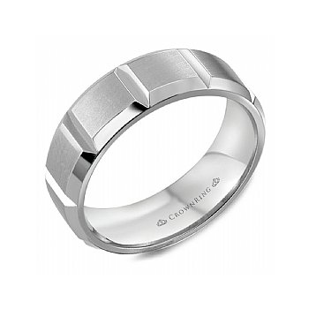 Sectioned Wedding Band with a Sandpaper Finish