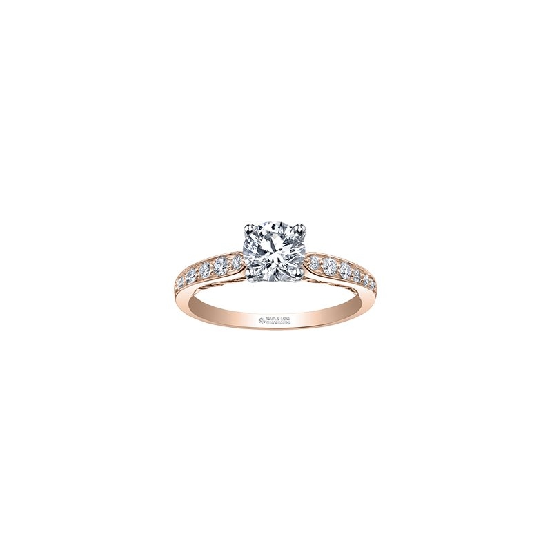 Maple Leaf Diamonds Tides of Love Engagement Ring with Diamond Band in Rose Gold