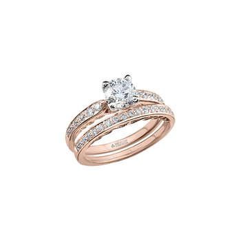 Tides of Love Engagement Ring with Diamond Band in Rose Gold