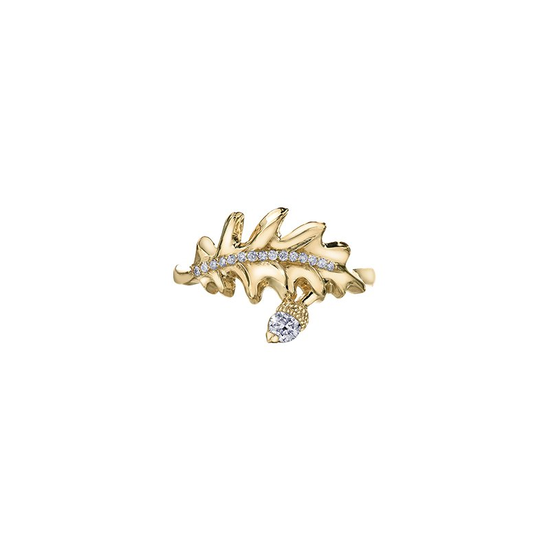 Maple Leaf Diamonds Oak Leaf Wrap Ring