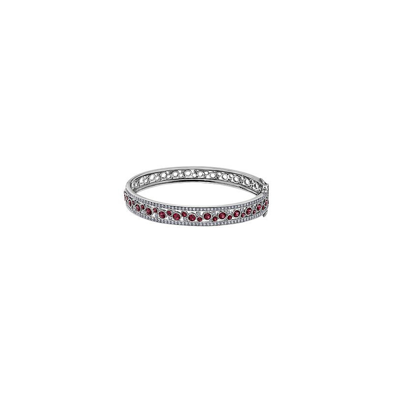 Maple Leaf Diamonds Ruby or Sapphire and Diamond Bangle