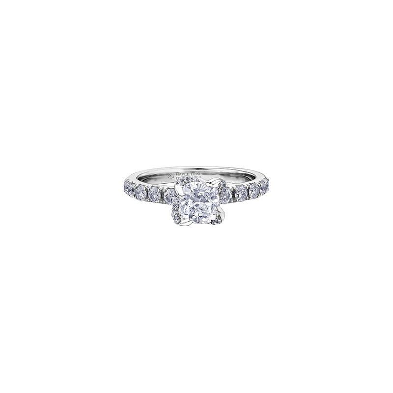 Maple Leaf Diamonds Wind's Embrace Diamond Set Cushion Engagement Ring