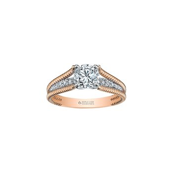 Eternal Flames Rope Twist Engagement Ring in Rose Gold
