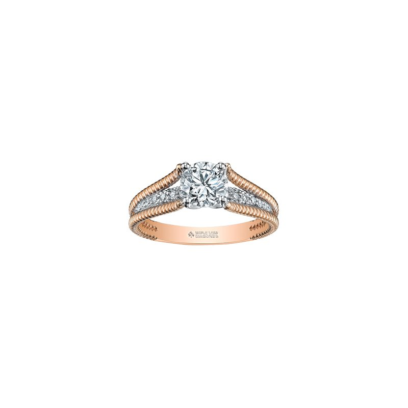 Maple Leaf Diamonds Eternal Flames Rope Twist Engagement Ring in Rose Gold