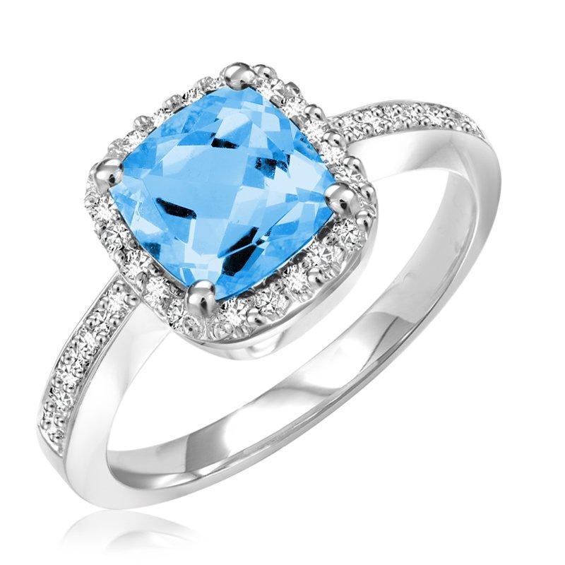 RnB Jewellery Cushion Gemstone Halo Ring