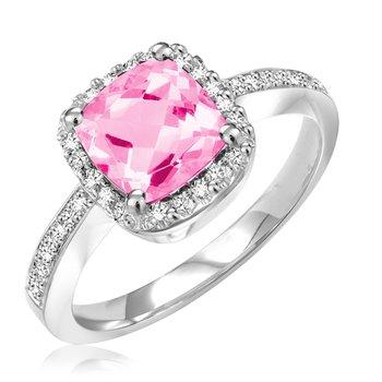 Cushion Gemstone Halo Ring