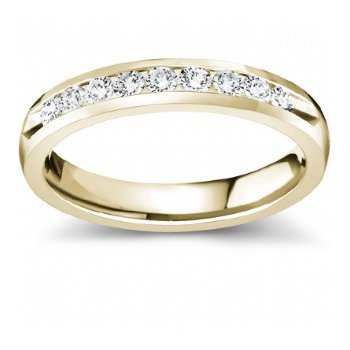 Half Way Channel Set Diamond Band in Yellow Gold