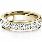 CrownRing Half Way Channel Set Diamond Band in Yellow Gold