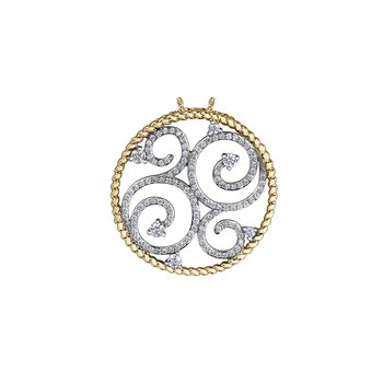 Round Diamond Scroll Pendant