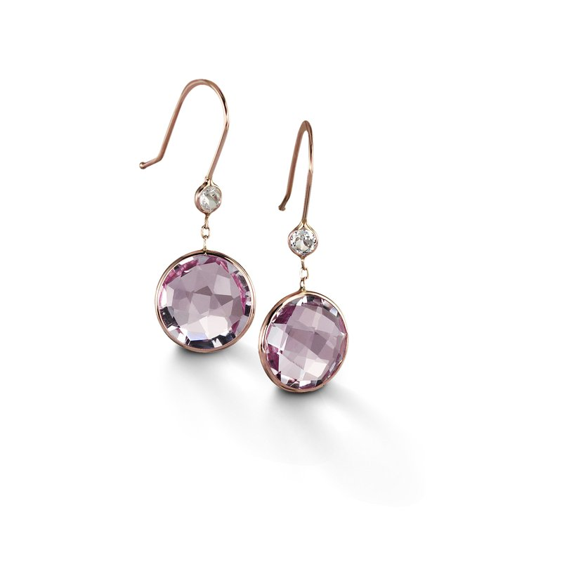 B Couture Rose Amethyst and White Topaz Drop Earrings