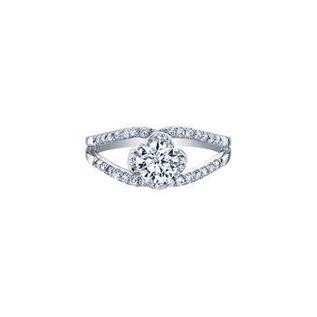 Wind's Embrace Tapered Double Band Engagement Ring