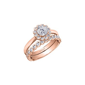 Tides of Love Halo Engagement Ring in Rose Gold