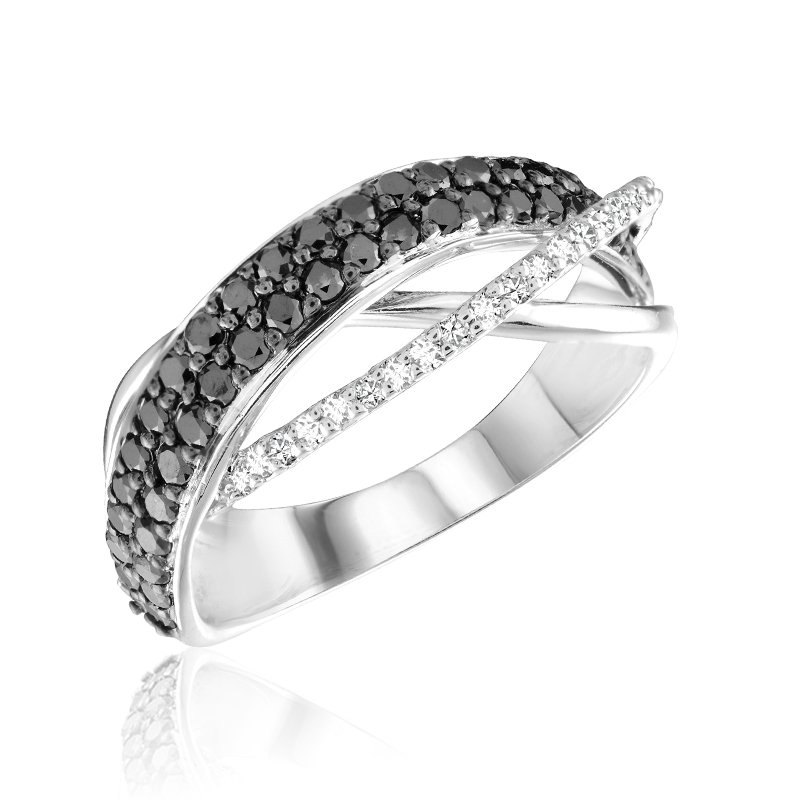 RnB Jewellery Black and White Diamond Triple Twist Ring