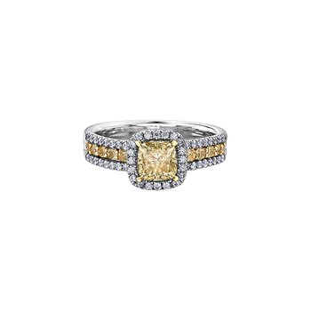 Eternal Flames Stacked Ring with Yellow Diamond Cushion Centre